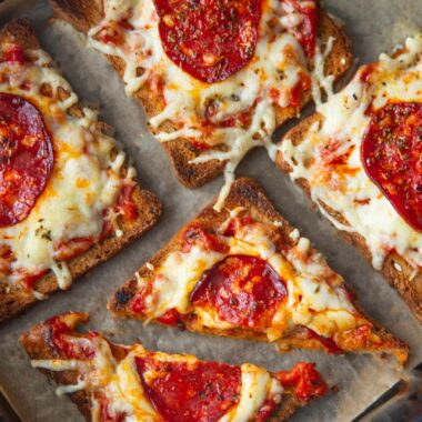 bread pizza with spicy pepperoni