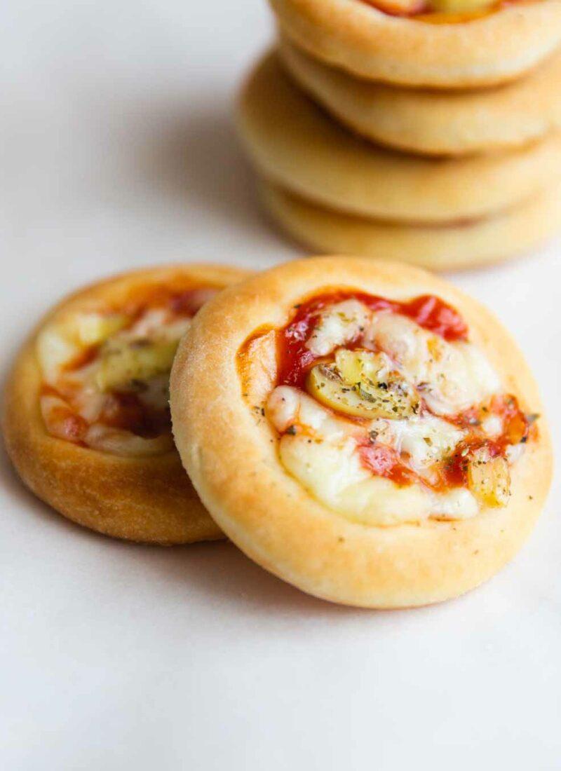 homemade crunchy mini pizzas