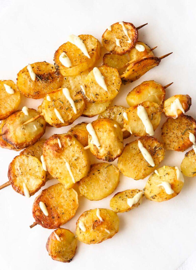 roasted baby potatoes in tartar sauce