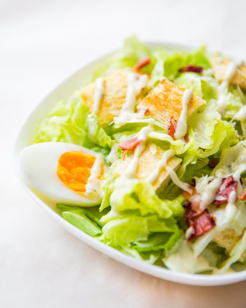 chicken caesar salad with eggs