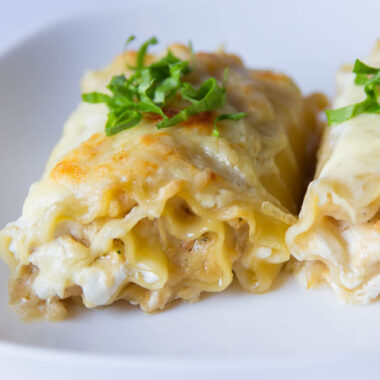 white chicken lasagna roll ups