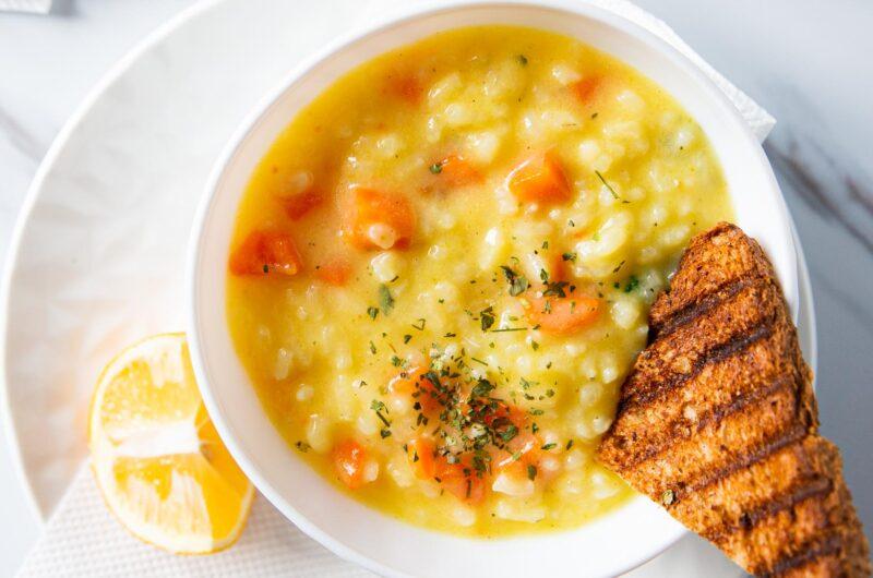 Creamy Greek Lemon Rice Soup |Avgolemono