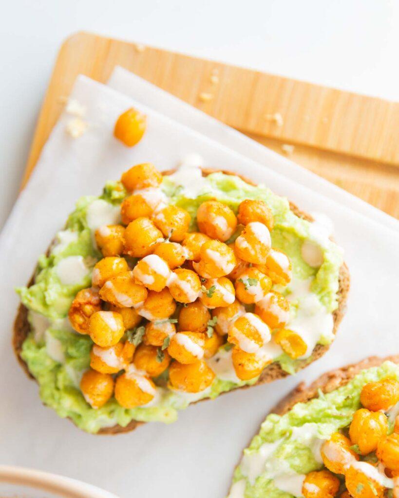 chickpea toast with avocado and tahini