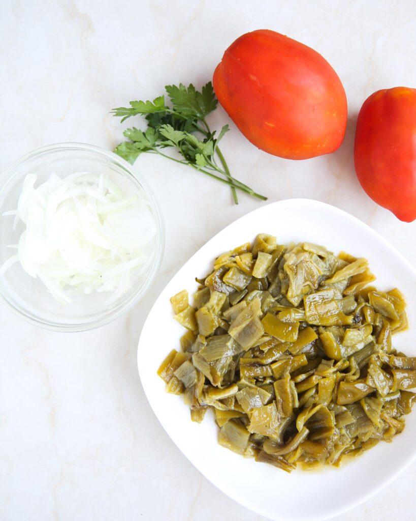 ingredients for grilled pepper salad